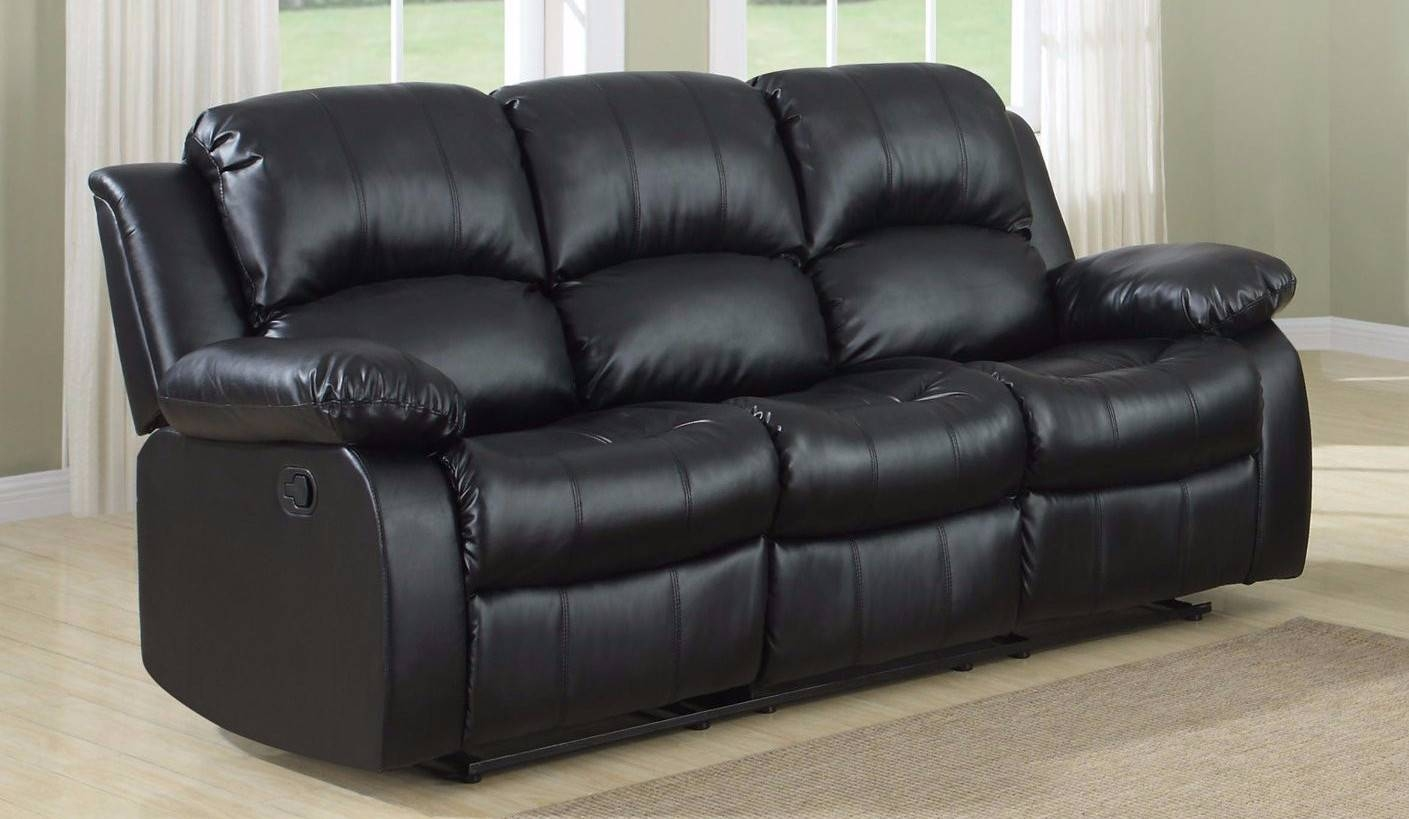 Classic 3 Seat Bonded Leather Double Recliner Sofa - Walmart with 3 Seater Sofas For Sale (Image 5 of 30)