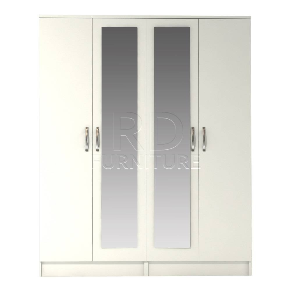 Classic 4 Door Double Mirrored Wardobe White Finish – Rdfurniture With Regard To Double Mirrored Wardrobes (View 15 of 15)