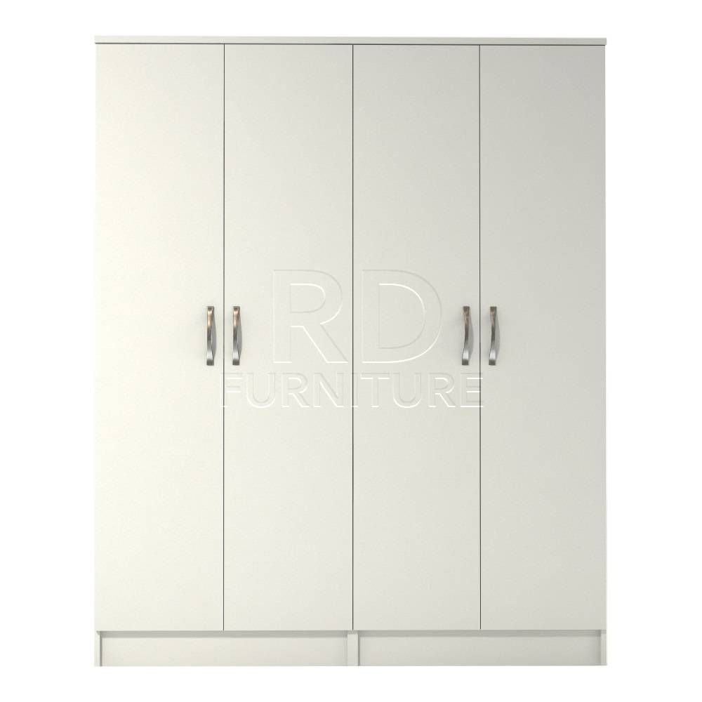 Classic 4 Door Wardrobe White Finish - Rdfurniture within 4 Door White Wardrobes (Image 4 of 15)