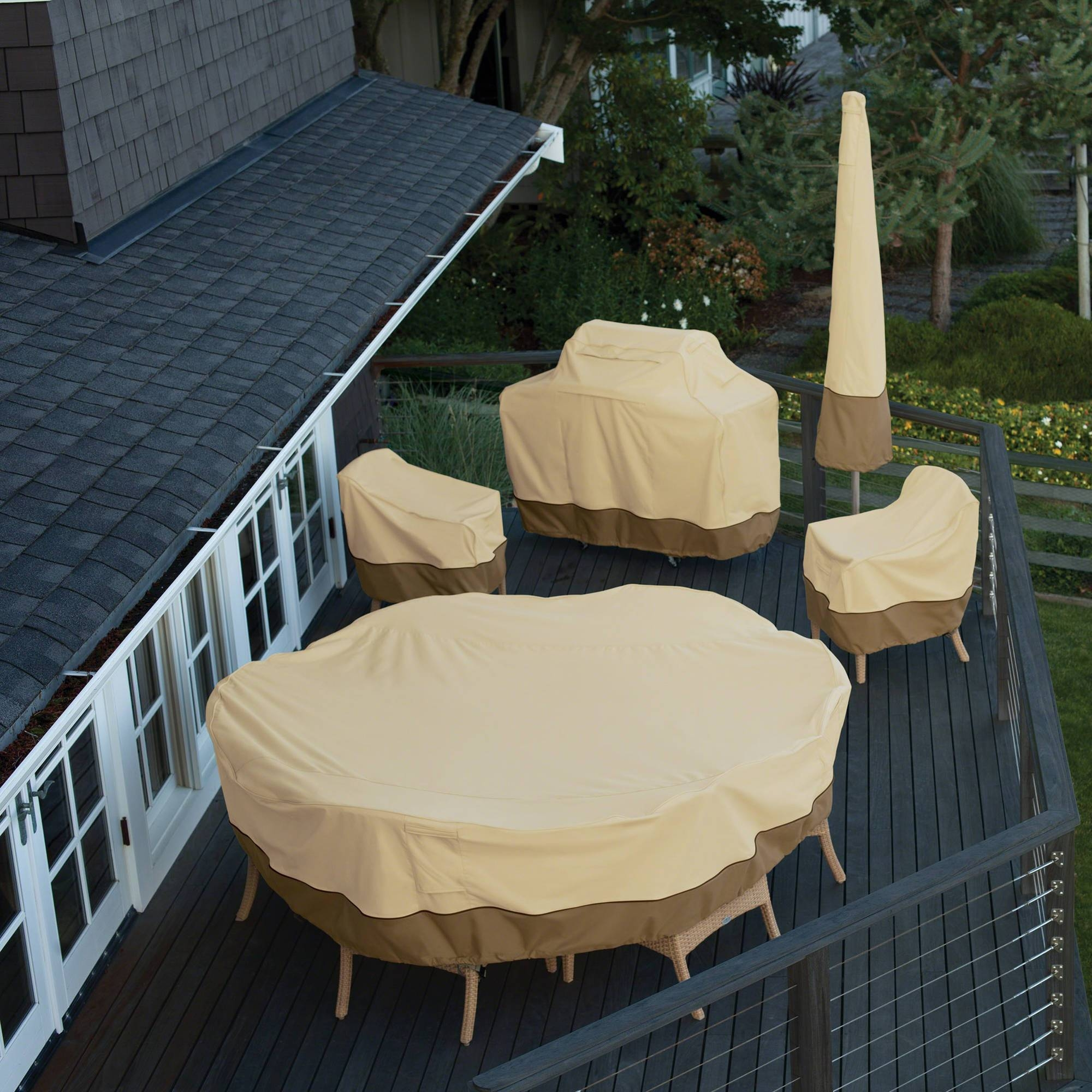 Classic Accessories Veranda Round Patio Table & Chair Set Cover in Garden Sofa Covers (Image 4 of 26)