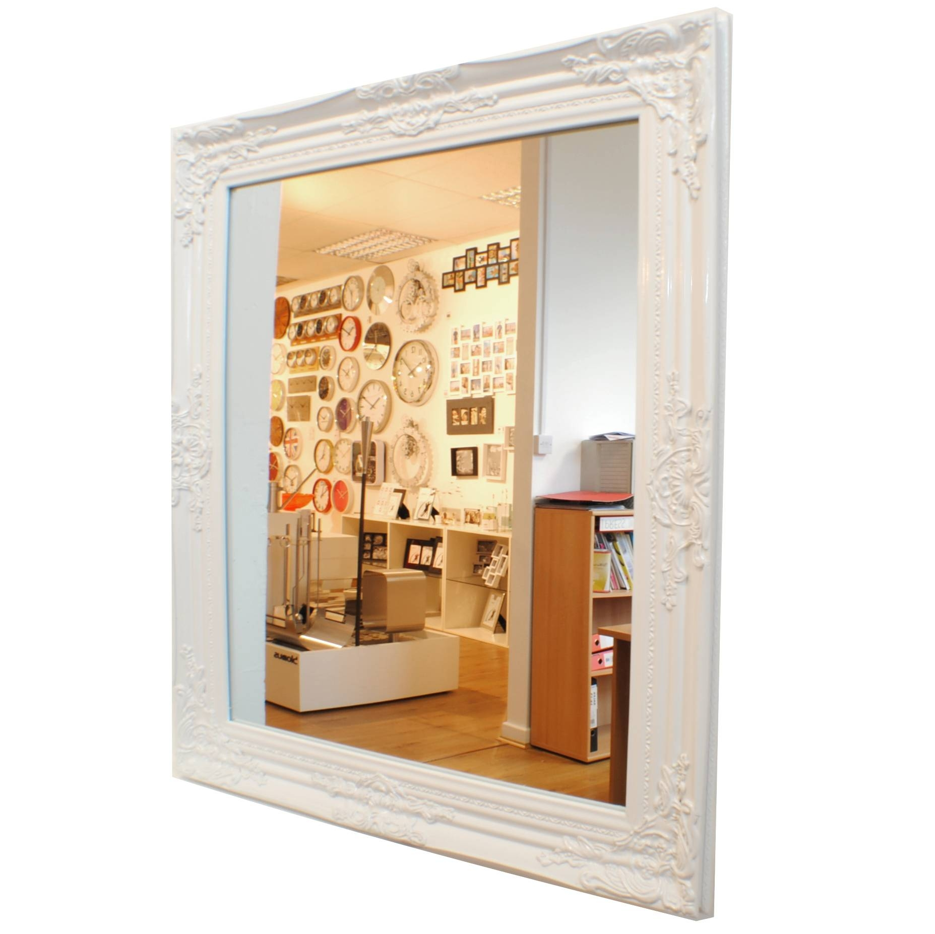 Classic Baroque Vintage Gloss White Wall Mirror Uk Intended For Baroque White Mirrors (View 12 of 25)