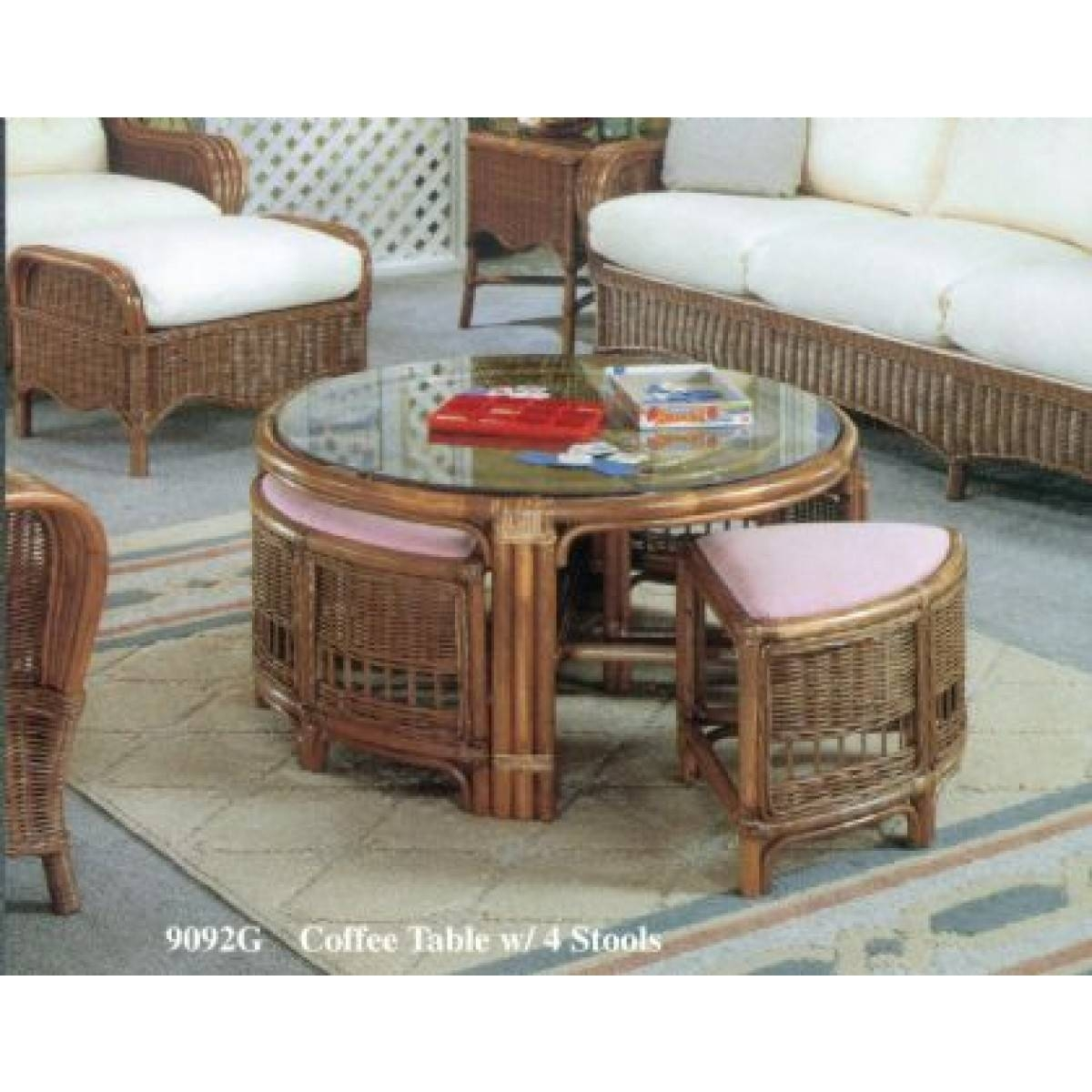 Classic Rattan Coffee Table With Stools | Patiosusa Inside Coffee Table With Stools (View 5 of 30)