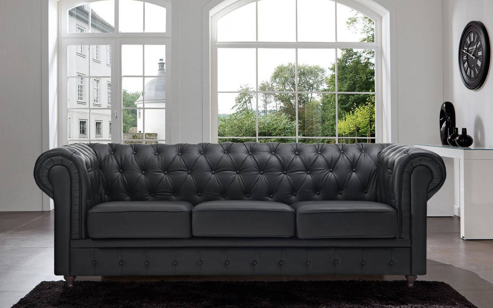 Classic Scroll Arm Tufted Bonded Leather Chesterfield Large Sofa with regard to Chesterfield Black Sofas (Image 11 of 30)