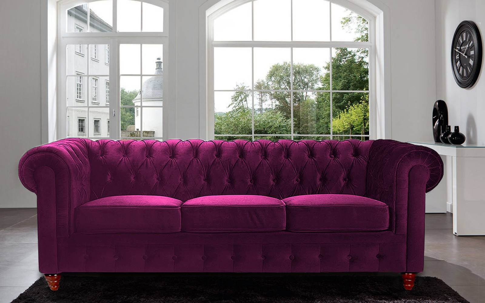 Classic Scroll Arm Tufted Velvet Chesterfield Large Sofa - Walmart pertaining to Velvet Purple Sofas (Image 11 of 30)