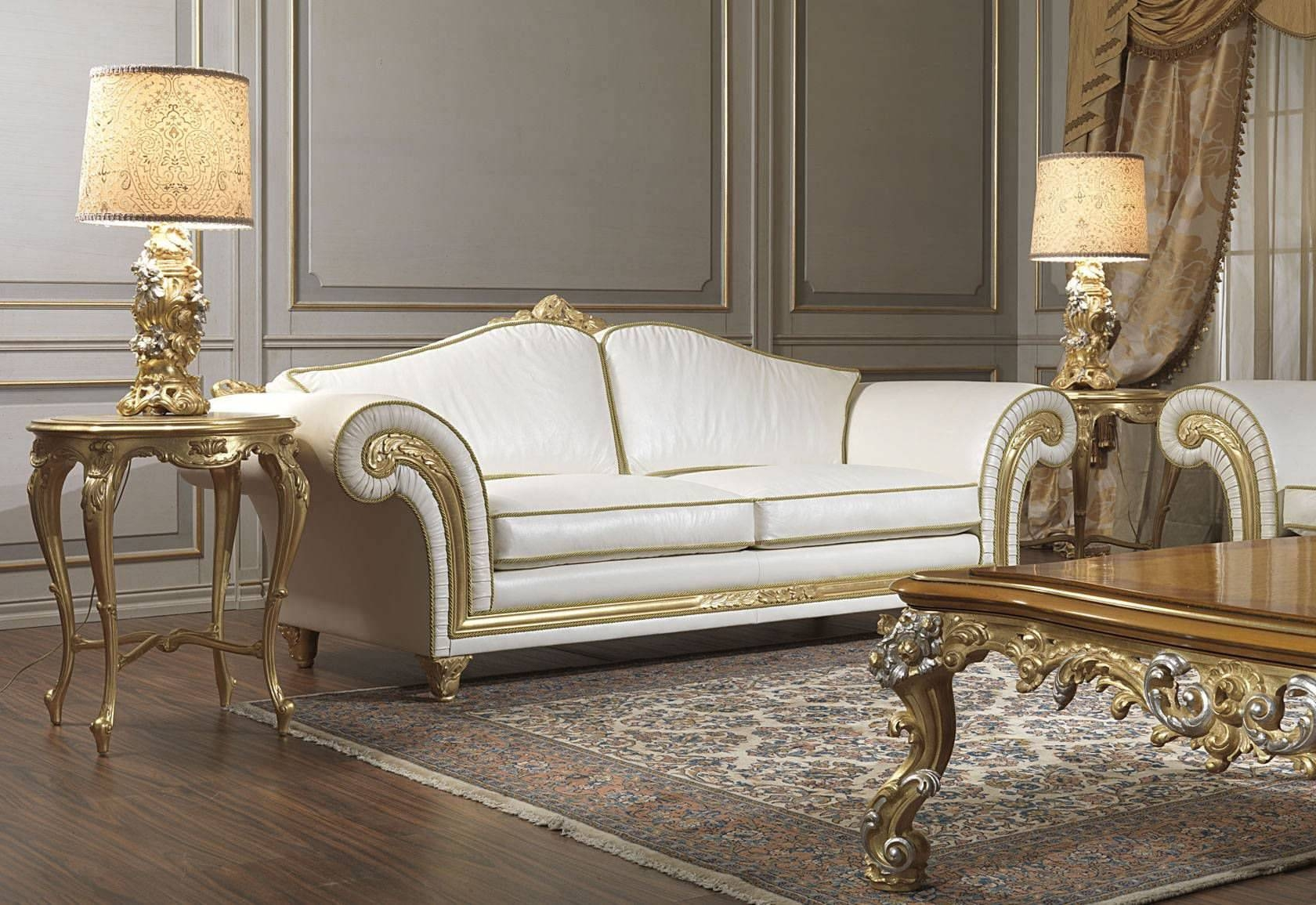 Classic Sofa / Leather / 2 Seater / White – Imperial – Vimercati Pertaining To Classic English Sofas (View 13 of 30)