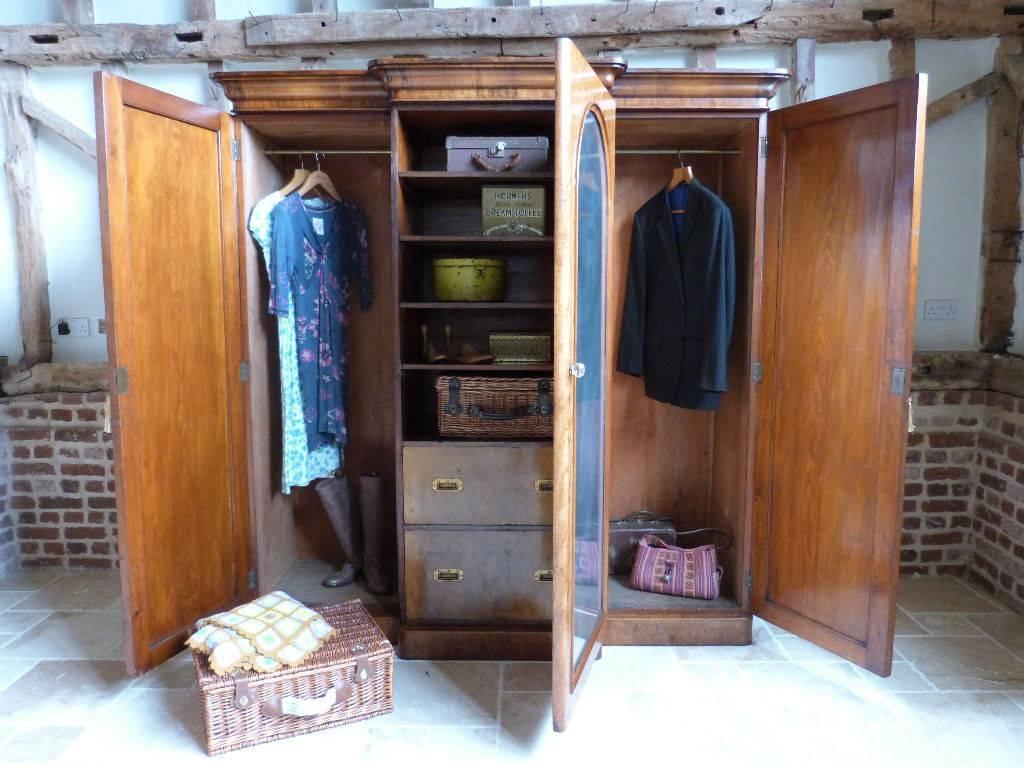 Classic Victorian Mahogany Breakfront Triple 3 Door Linen Press for Victorian Mahogany Breakfront Wardrobe (Image 5 of 30)