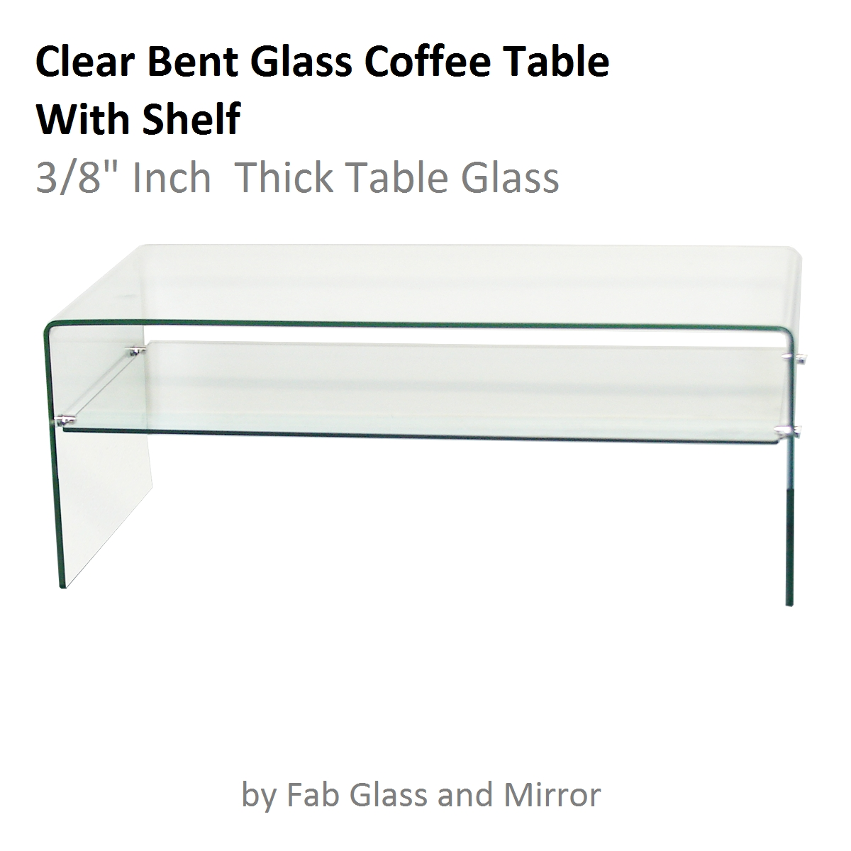 "Clear Bent Glass Coffee Table With Shelf, 3/8"" Inch Thick intended for Glass Coffee Tables With Shelf (Image 3 of 30)"