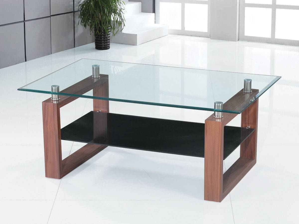 Clear Glass Coffee Table With Wooden Legs - Homegenies pertaining to Range Coffee Tables (Image 12 of 30)
