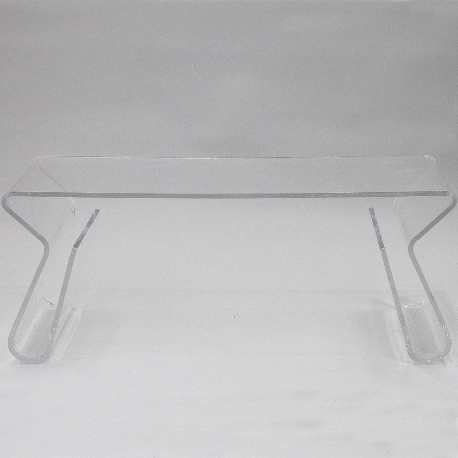 Clear Rectangle Acrylic Coffee Table With Magazine Holder In Legs for Acrylic Coffee Tables With Magazine Rack (Image 11 of 30)