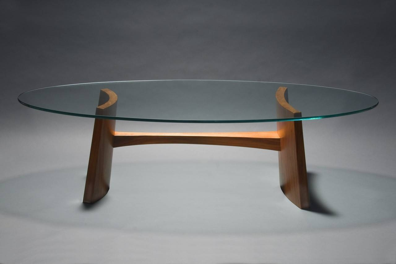Clearwater Coffee Table | Hardwood & Glass Coffee Table - Seth Rolland throughout Oval Walnut Coffee Tables (Image 7 of 30)