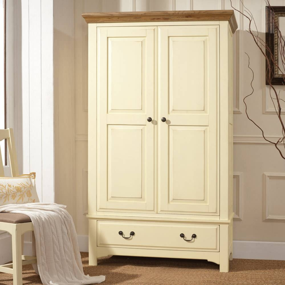 Clermont Shabby Chic Gents Double Wardrobe Including Free Delivery with regard to Cream Wardrobes (Image 2 of 15)