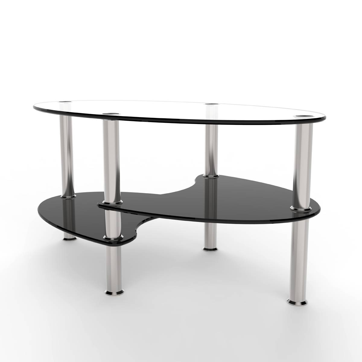 Cleveland 38 Inch Glass Coffee Table With Black Mesh Magazine Holder inside Dark Glass Coffee Tables (Image 9 of 30)