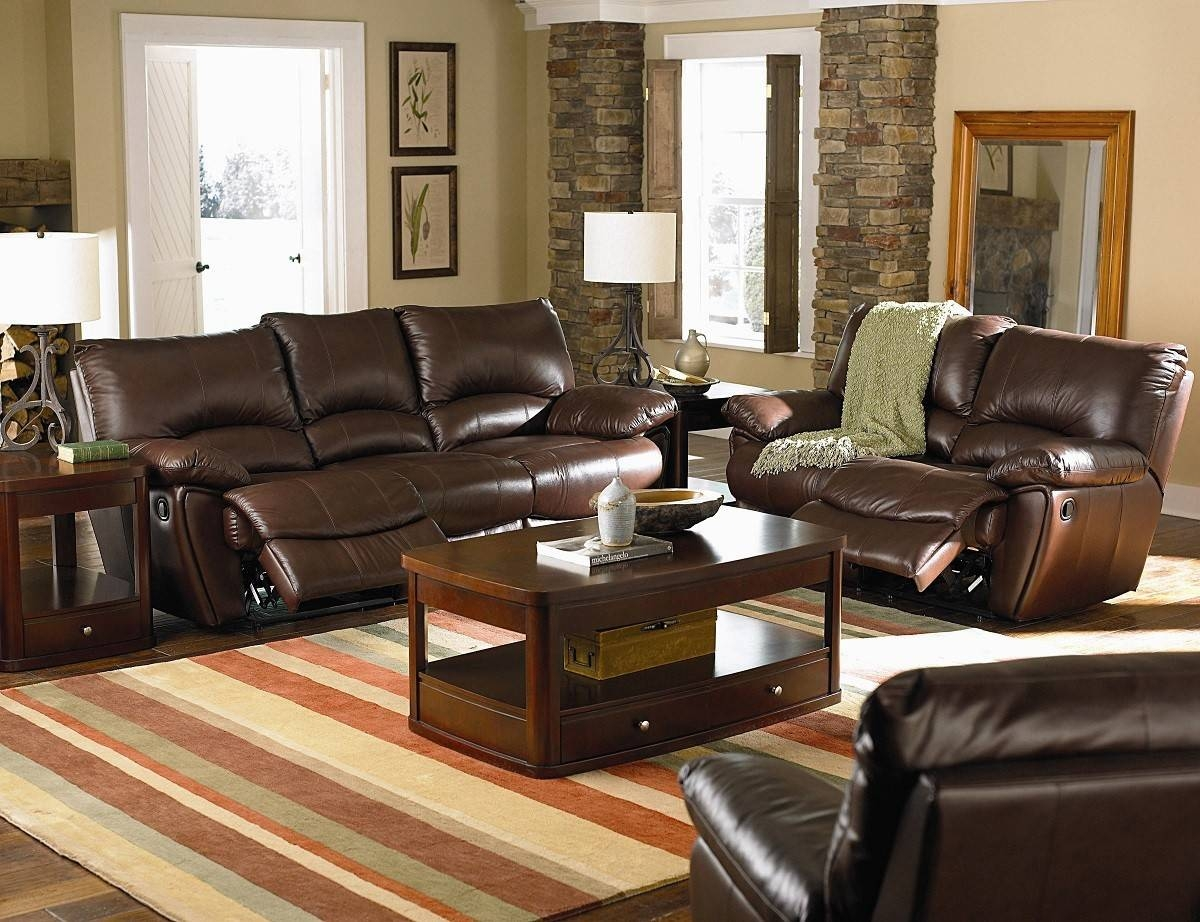 Clifford Brown Top Grain Leather Match Double Power Reclining Sofa inside Coffee Tables And Tv Stands Matching (Image 8 of 30)