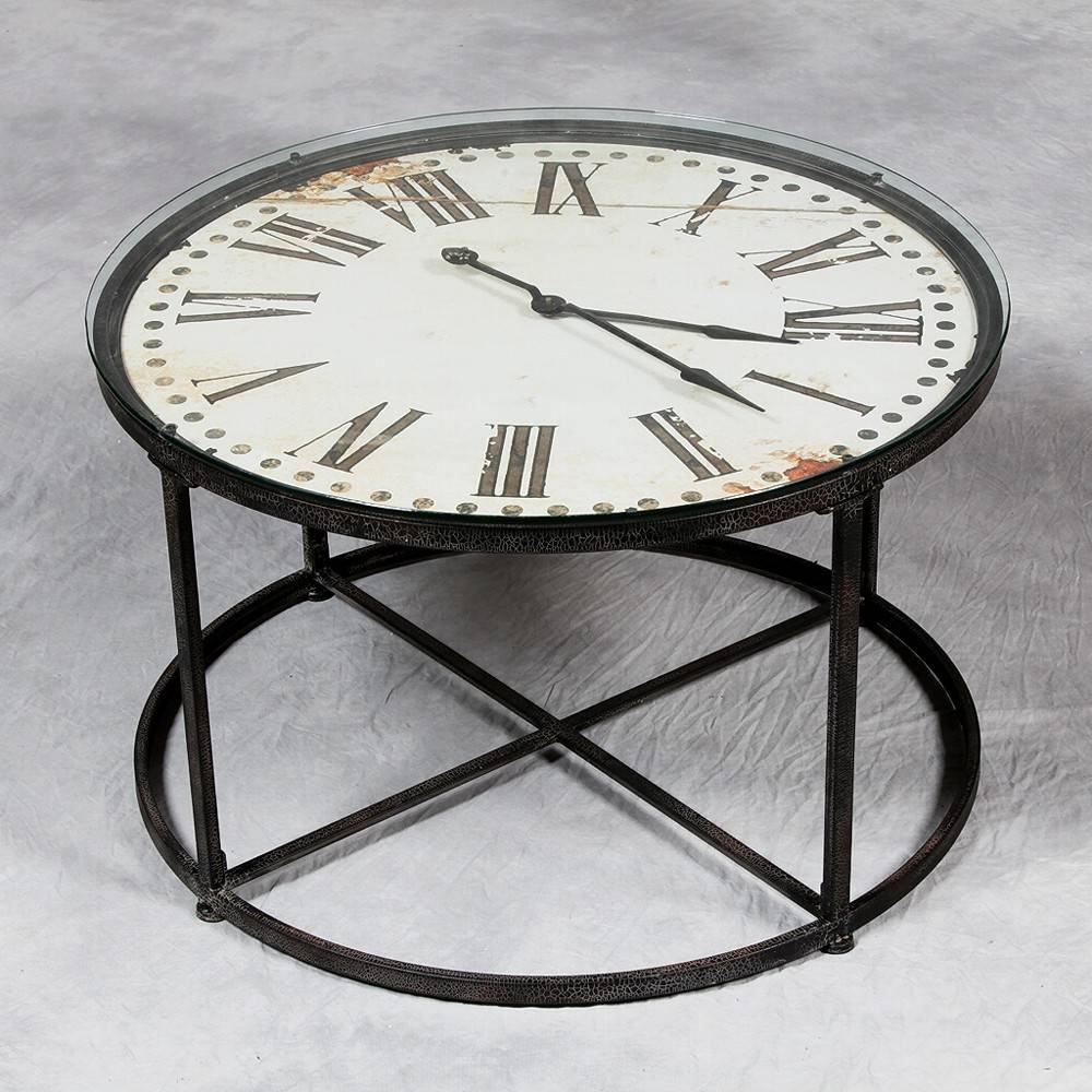 Clock Coffee Table D60 Furnishing Furniture Bizzotto Round 07 / Thippo With Coffee Tables With Clock Top (View 5 of 30)