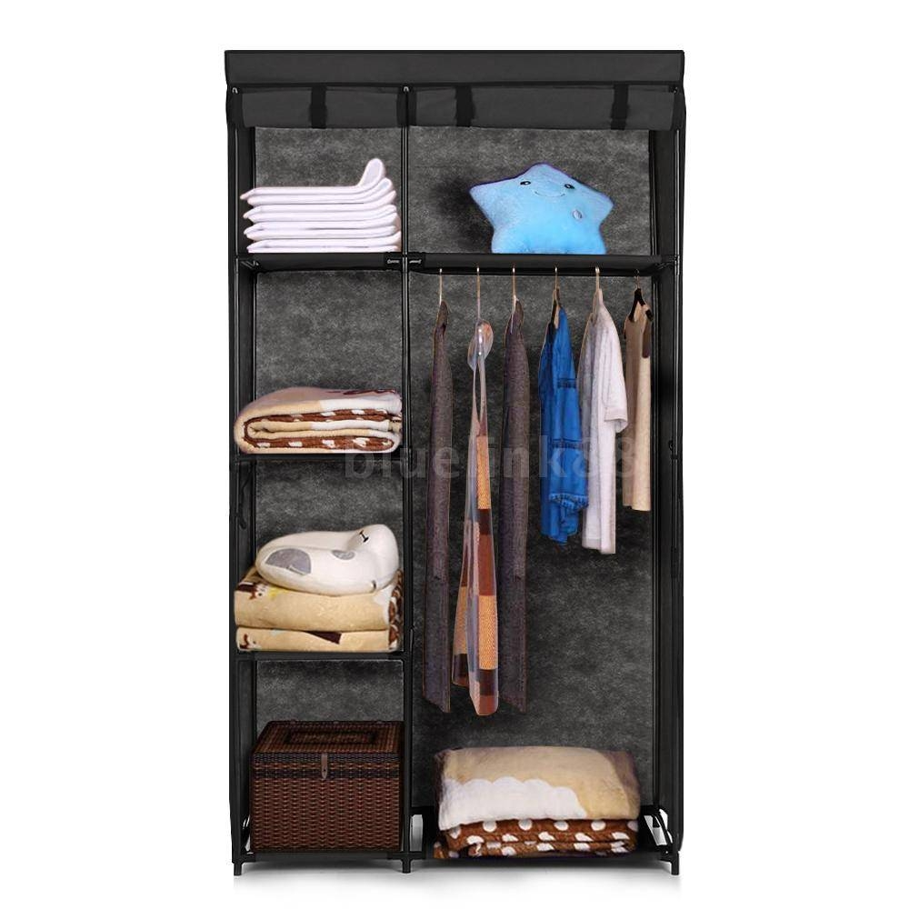 Clothes Closet Cupboard Hanger Rack Shelf Cabinet Home Space Saver with regard to Wardrobes With Shelves and Drawers (Image 12 of 30)
