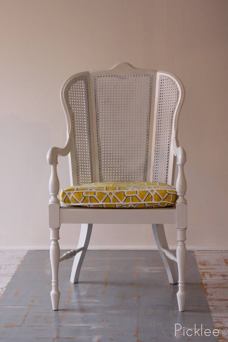 Coastal White Cane Chair Revival [Before & After] - Picklee pertaining to White Cane Sofas (Image 10 of 30)