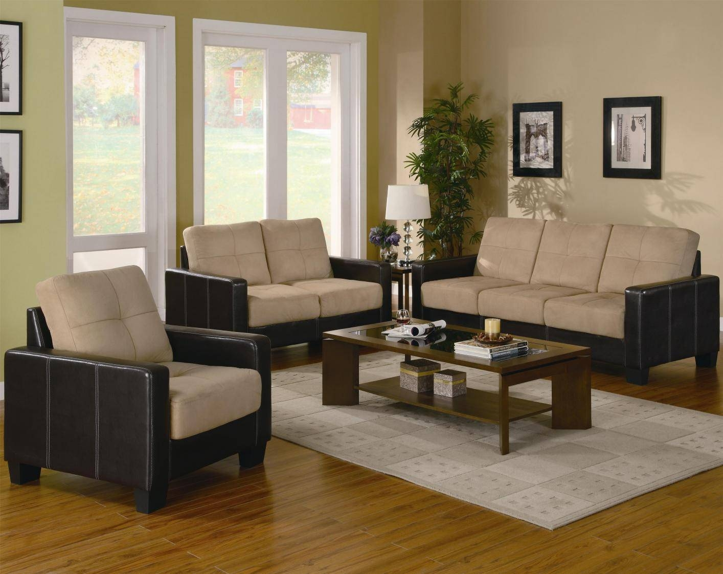 Coaster 500100 Beige Leather Sofa Loveseat And Chair Set - Steal-A intended for Sofa Loveseat and Chair Set (Image 10 of 30)