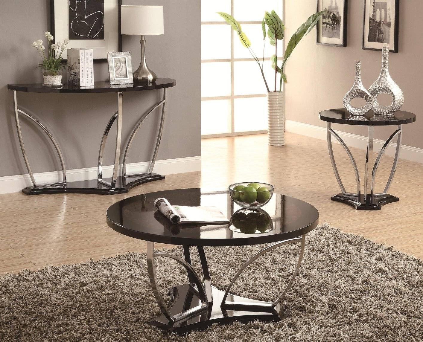 Coaster 702329 Black Marble Sofa Table - Steal-A-Sofa Furniture for Sofa Table Chairs (Image 10 of 30)