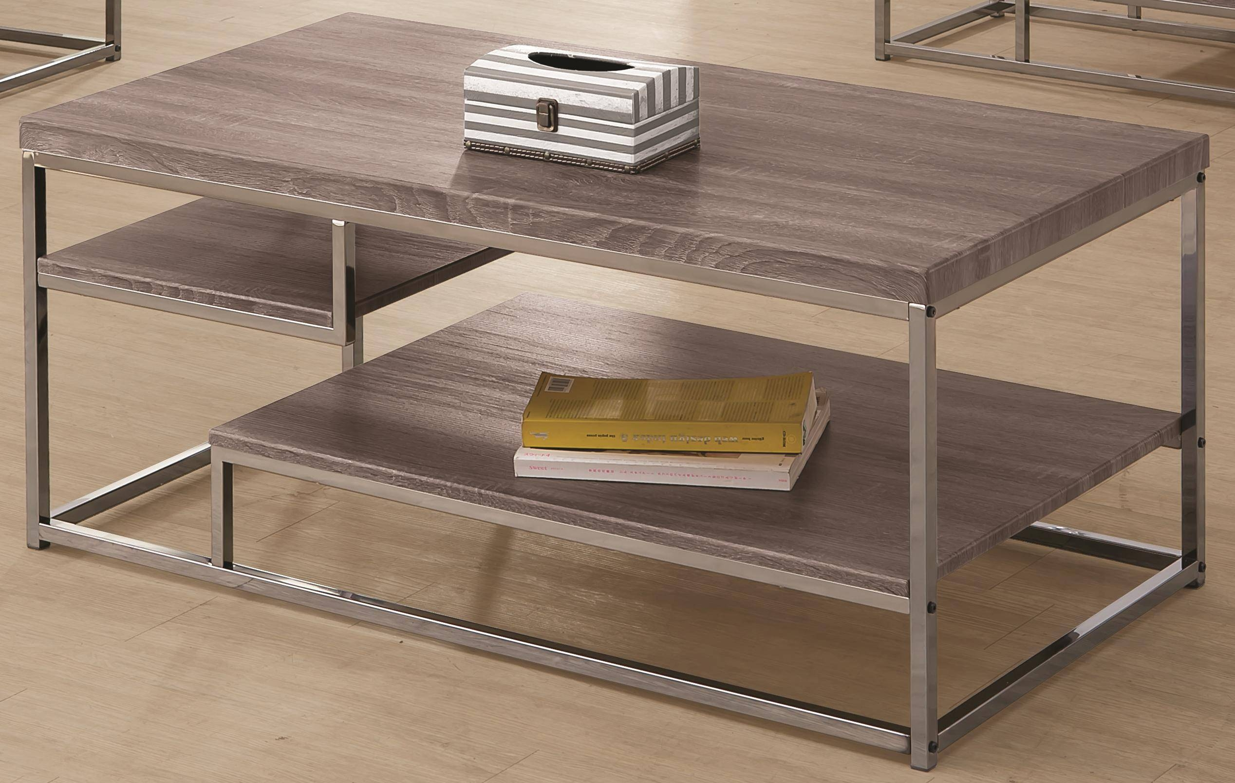 Coaster 7037 2 Shelf Coffee Table With Wood Top And Chrome Frame for Grey Coffee Tables (Image 9 of 30)