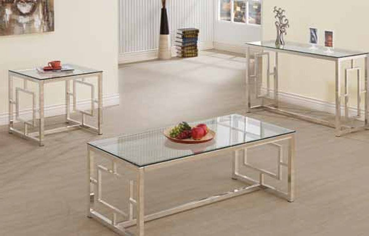 Coaster 703739 Silver Glass Sofa Table - Steal-A-Sofa Furniture within Metal Glass Sofa Tables (Image 5 of 30)