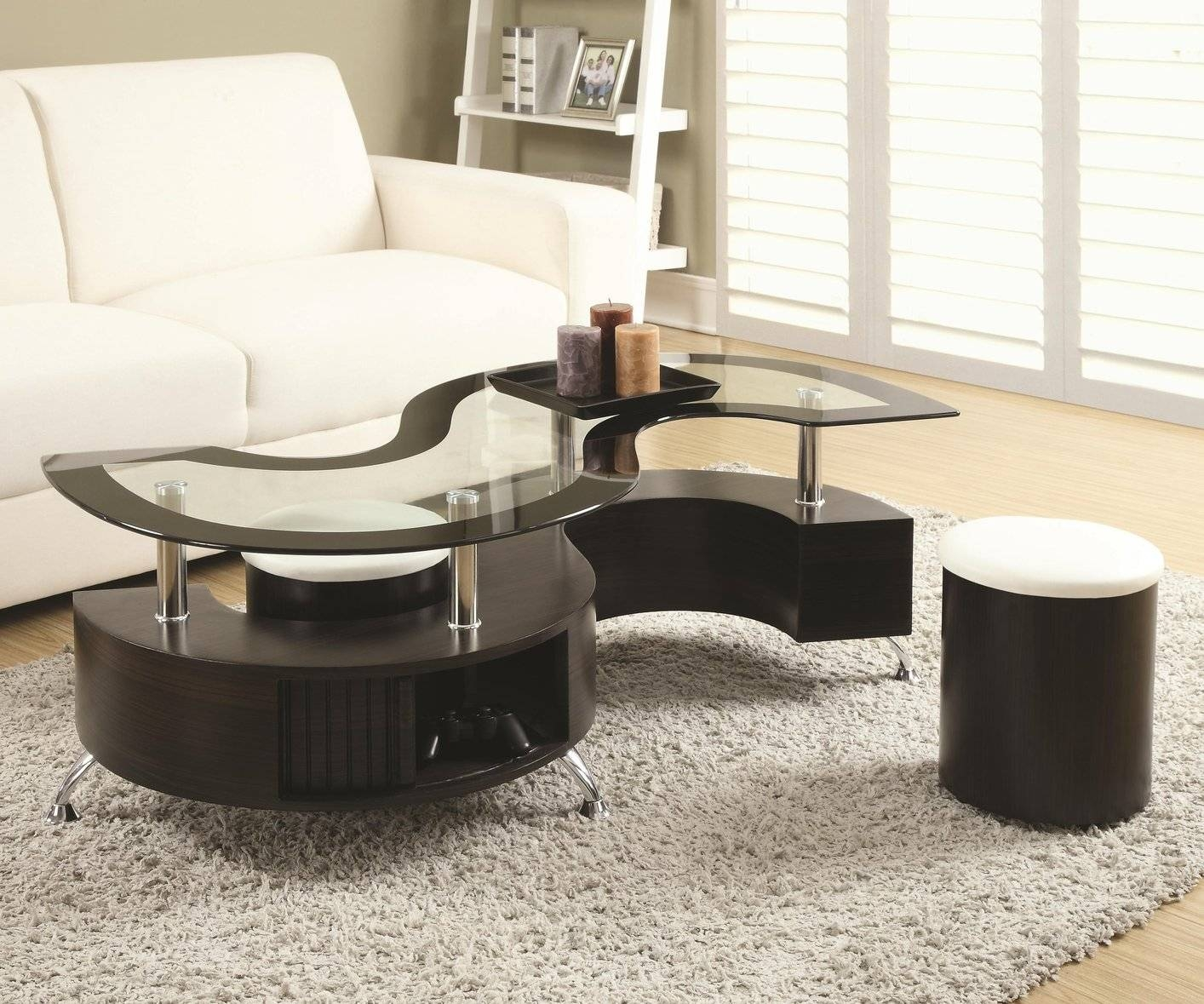 Coaster 720218 Brown Glass Coffee Table - Steal-A-Sofa Furniture regarding Coffee Table With Chairs (Image 9 of 30)