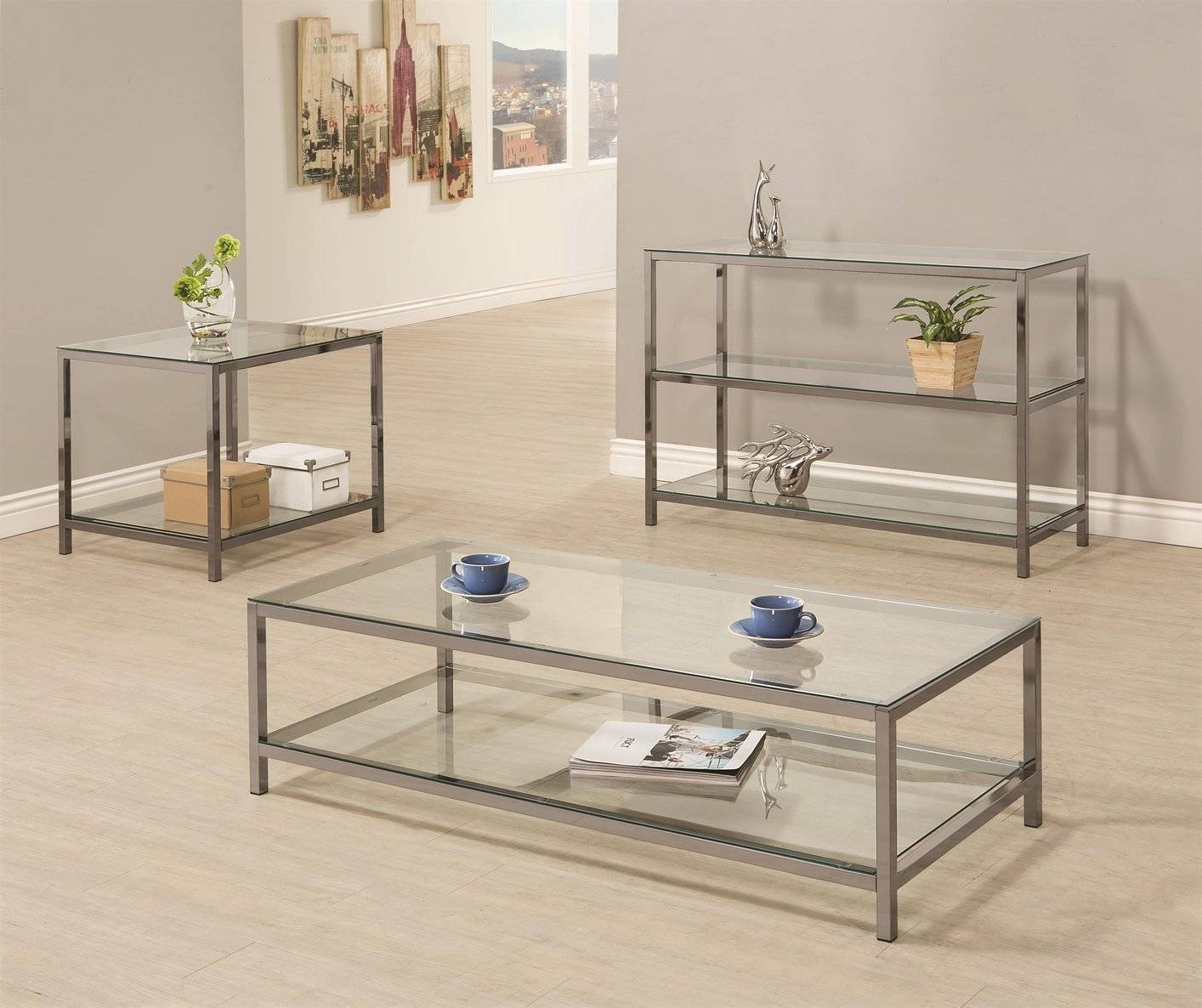 Coaster 720229 Black Glass Sofa Table - Steal-A-Sofa Furniture within Metal Glass Sofa Tables (Image 6 of 30)