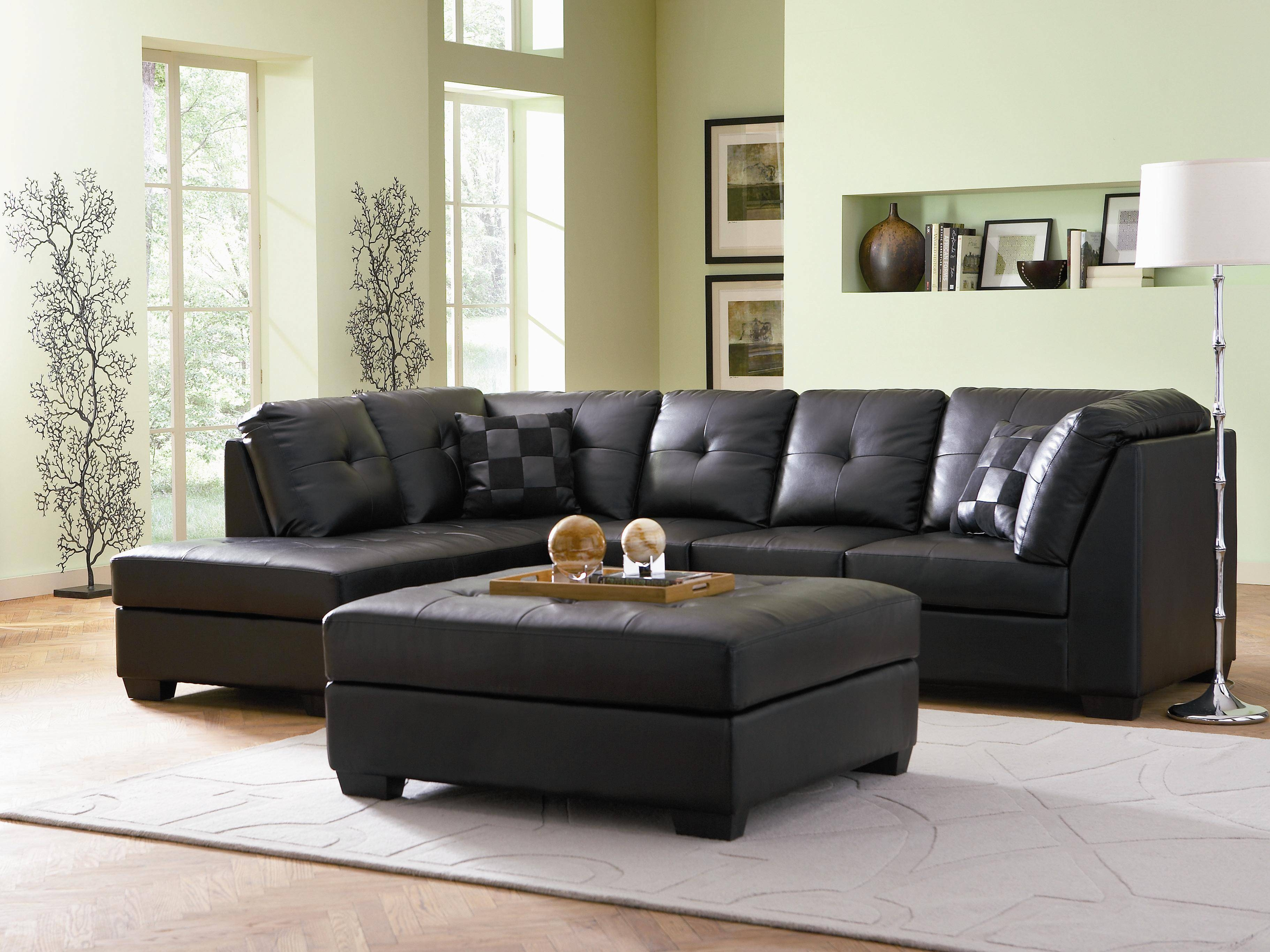Coaster Darie Leather Sectional Sofa With Left-Side Chaise in Contemporary Black Leather Sectional Sofa Left Side Chaise (Image 8 of 30)