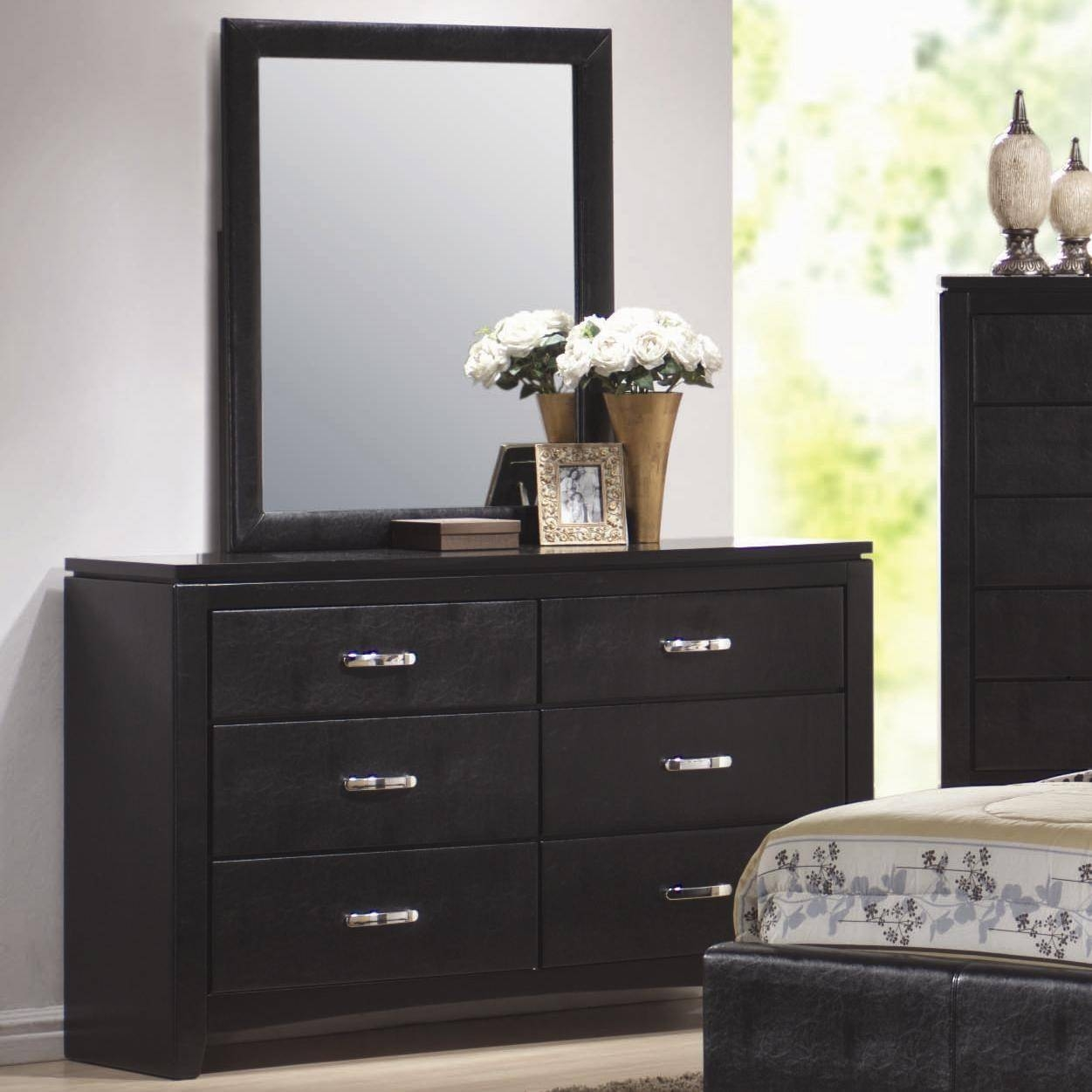 Coaster Furniture 201404 Dylan Vertical Faux Leather Dresser In Black Faux Leather Mirrors (View 12 of 25)