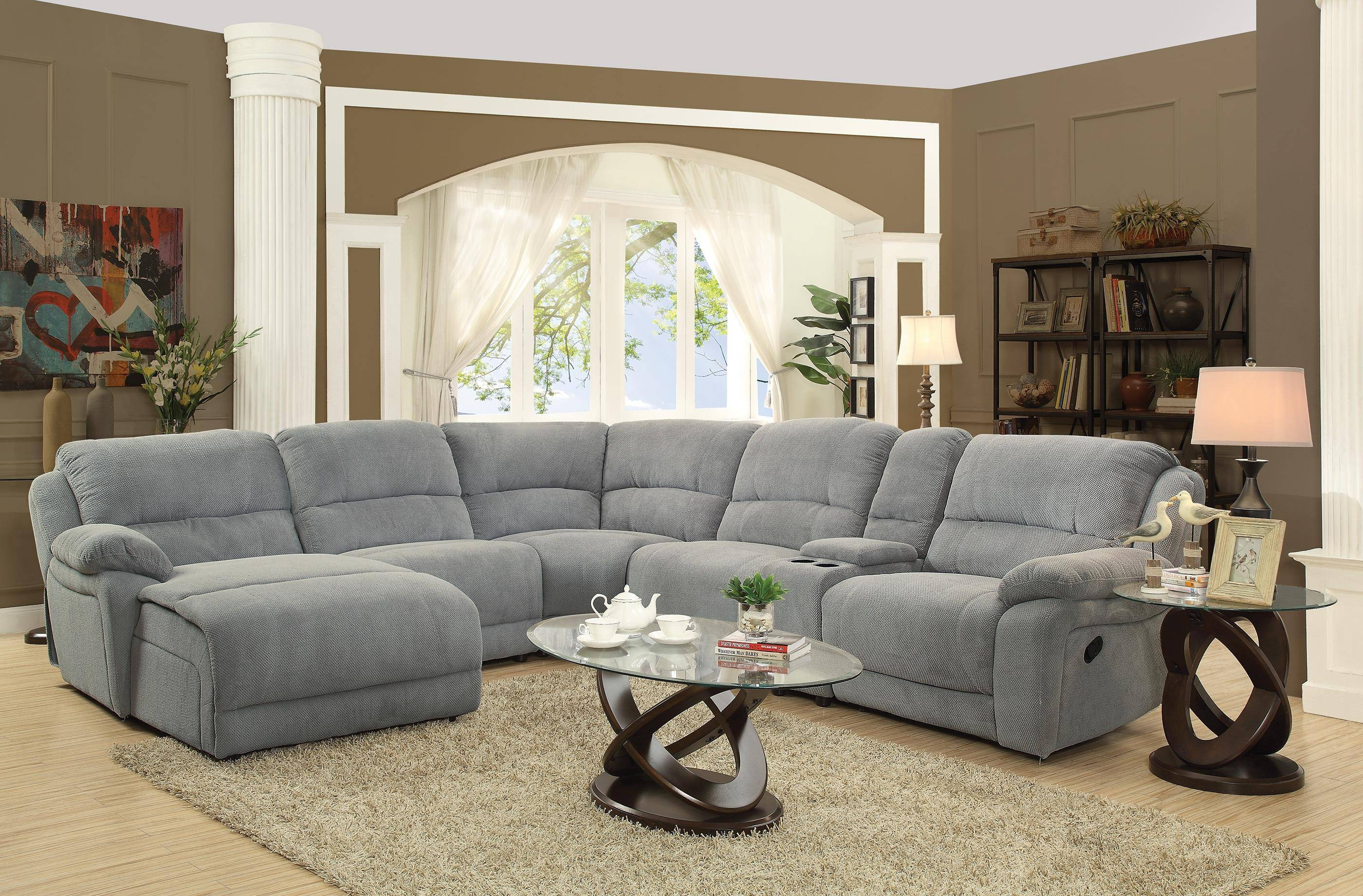 Coaster Mackenzie Silver 6-Piece Reclining Sectional Sofa With regarding 6 Piece Leather Sectional Sofa (Image 13 of 30)