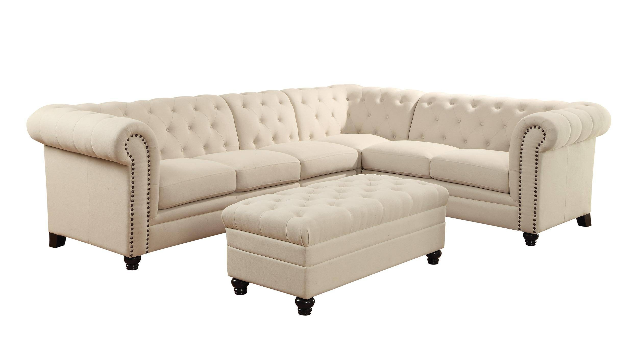 Coaster Roy Button Tufted Sectional Sofa With Armless Chair – Del Pertaining To Armless Sectional Sofas (View 12 of 30)