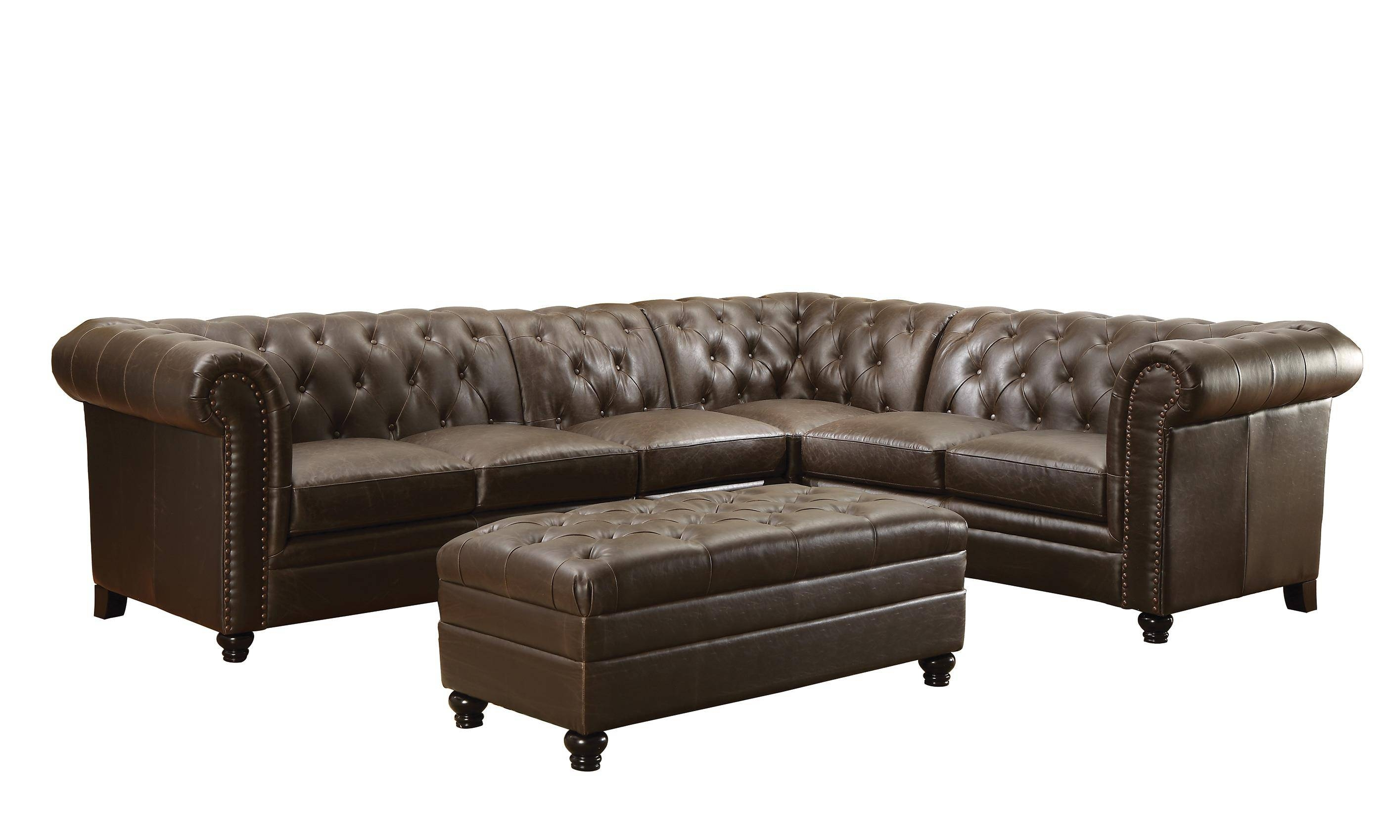 Coaster Roy Button-Tufted Sectional Sofa With Armless Chair - Del regarding Armless Sectional Sofa (Image 6 of 30)