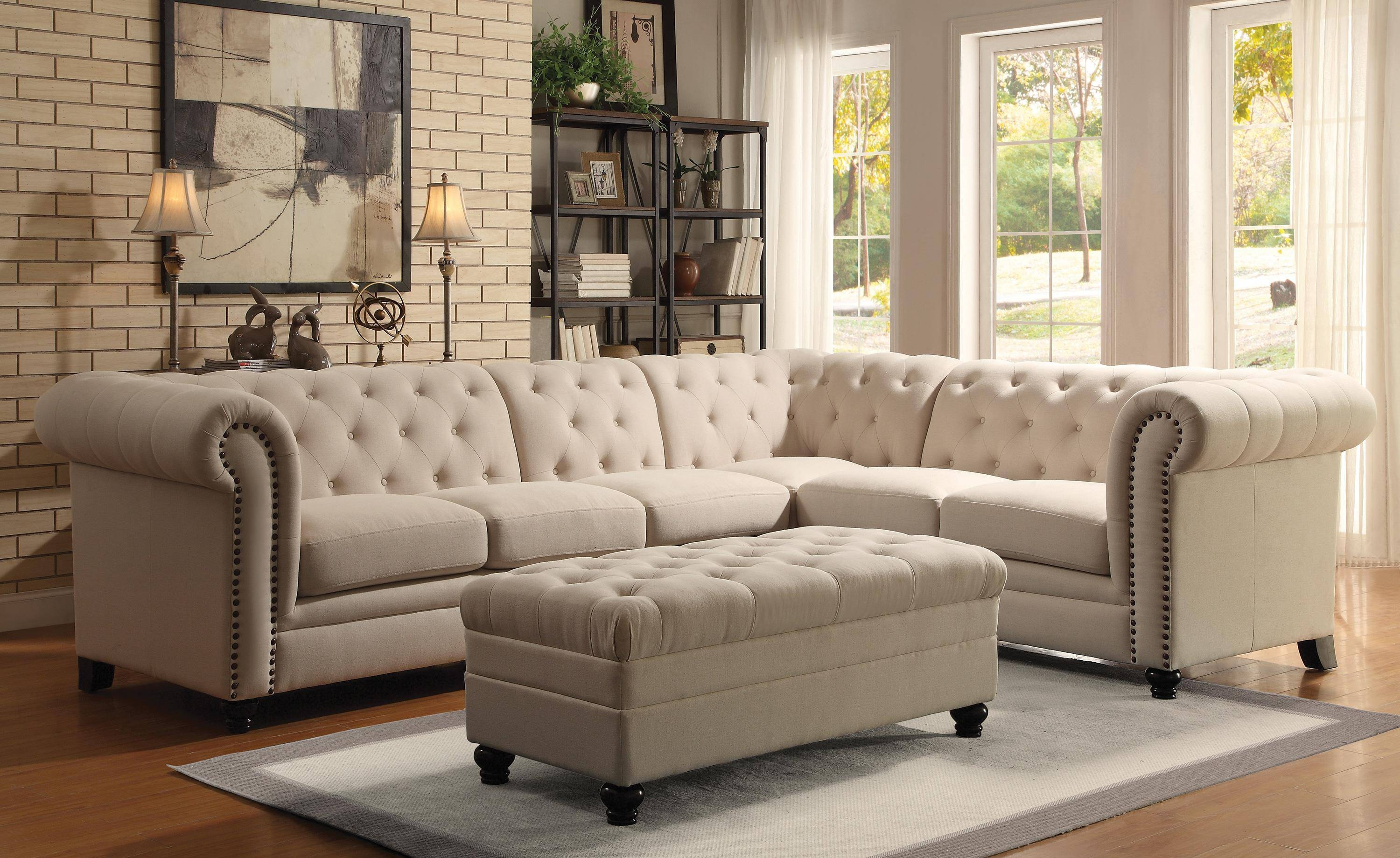 Coaster Roy Traditional Button-Tufted Sofa With Rolled Back And inside Traditional Sectional Sofas Living Room Furniture (Image 5 of 25)