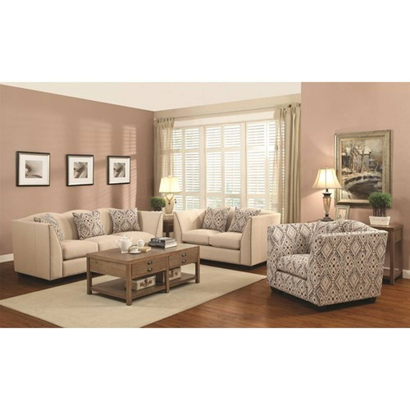 Coaster Siana 902167 Beige Fabric Accent Chair - Steal-A-Sofa pertaining to Sofa and Accent Chair Set (Image 10 of 30)