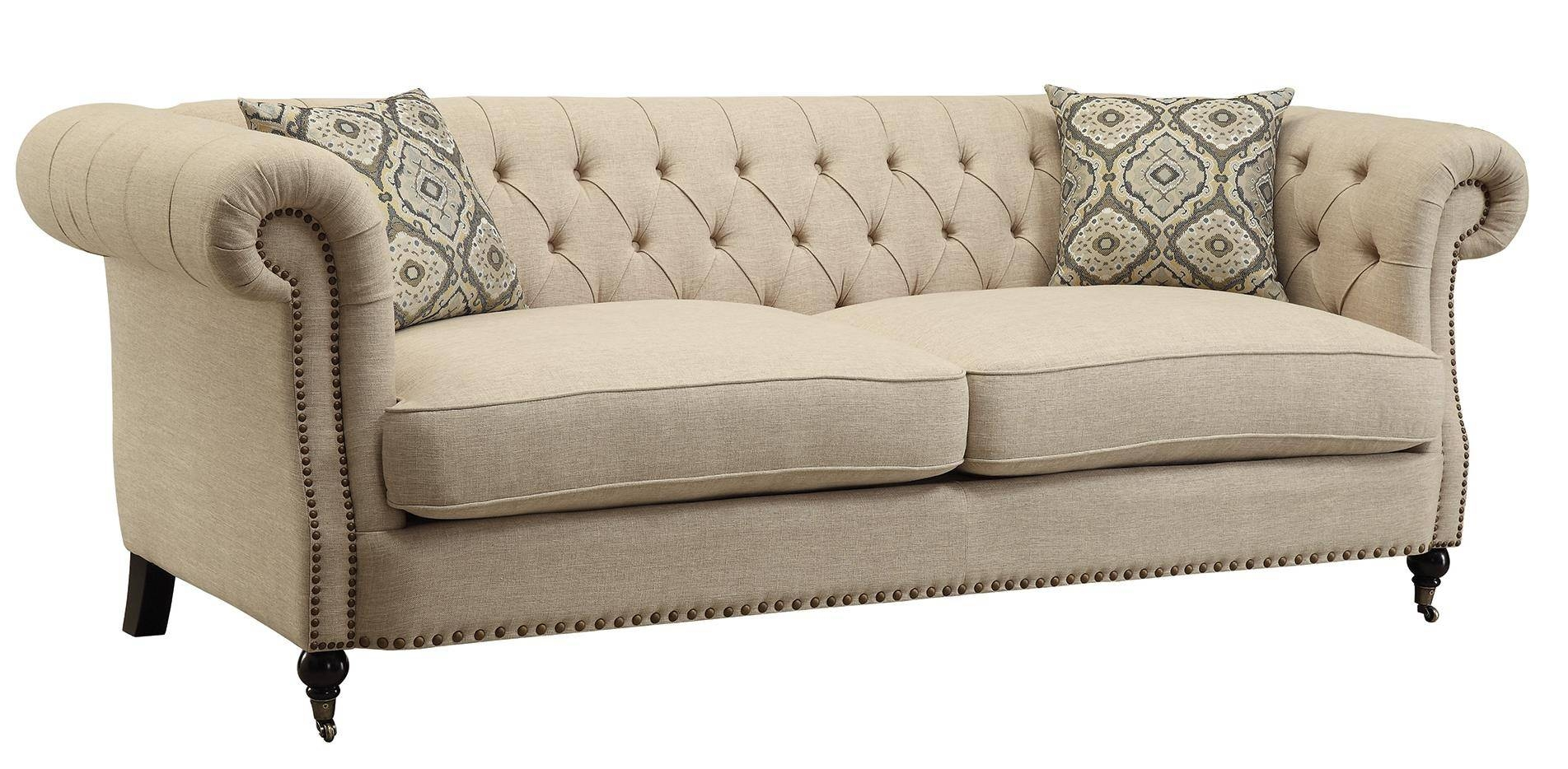 Coaster Trivellato Traditional Button Tufted Sofa With Large in Tufted Linen Sofas (Image 9 of 30)