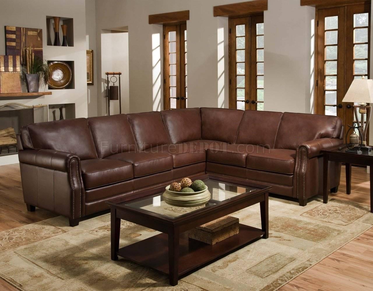 Cocoa Brown Top Grain Italian Leather Traditional Sectional Sofa in Traditional Leather Couch (Image 5 of 30)