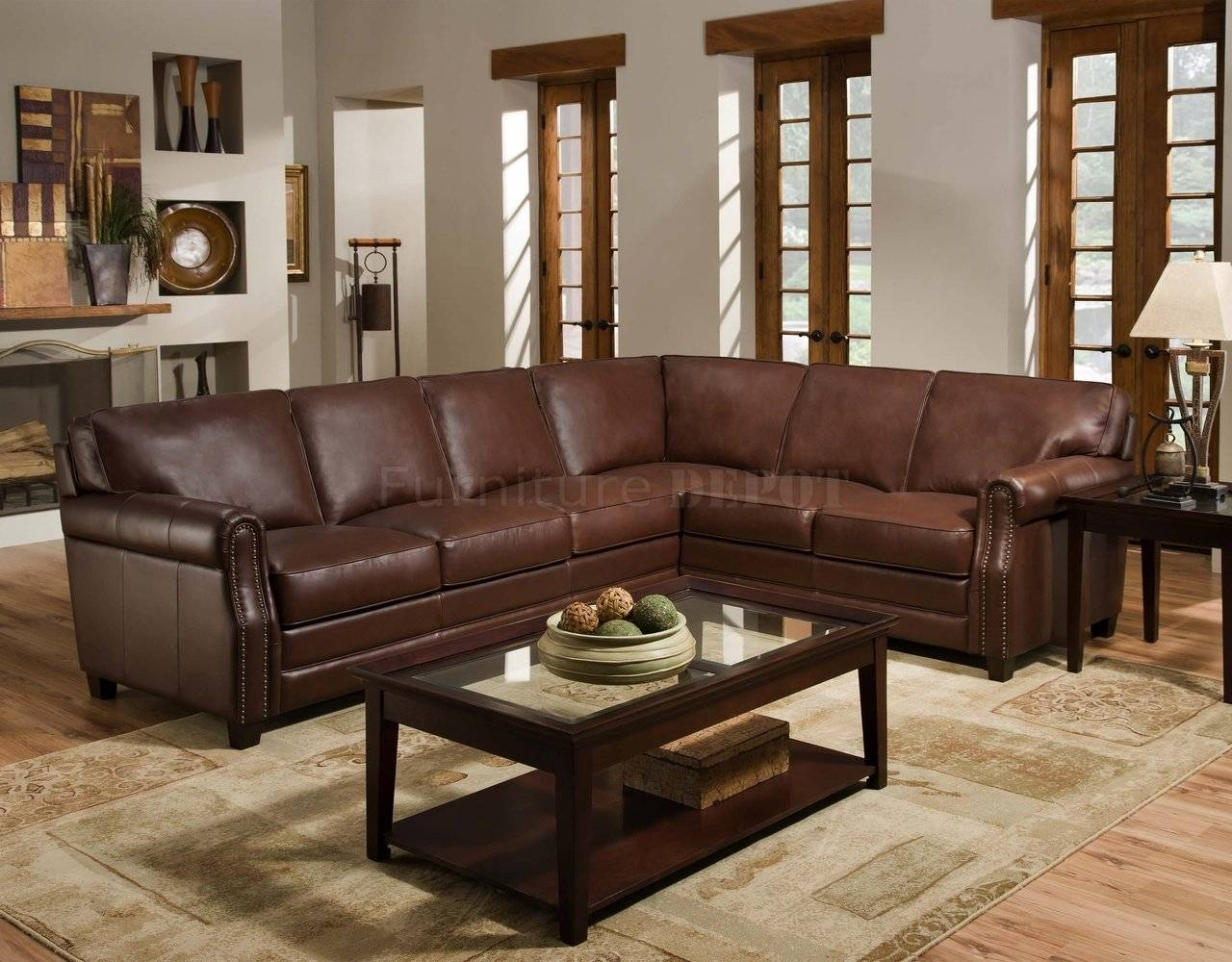 Cocoa Brown Top Grain Italian Leather Traditional Sectional Sofa with regard to Traditional Sectional Sofas (Image 7 of 25)