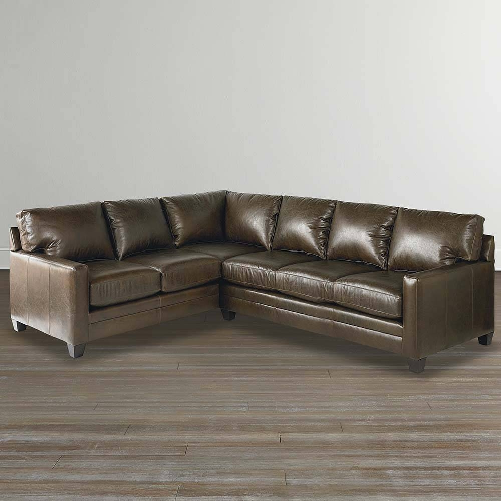 Cocoa Custom Leather L Shaped Sectional regarding Bassett Sectional Sofa (Image 10 of 30)