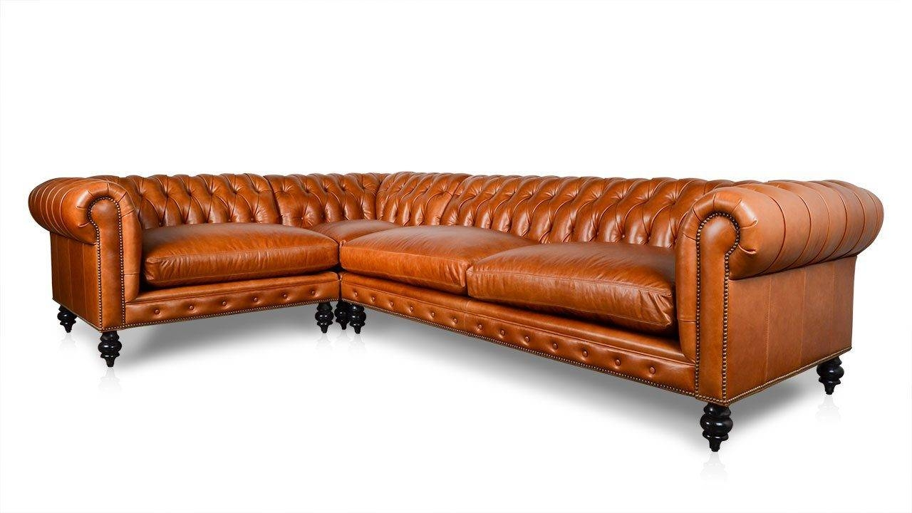 "Cococohome | Classic Chesterfield Square ""l"" Leather Sectional with Florence Leather Sofas (Image 5 of 30)"