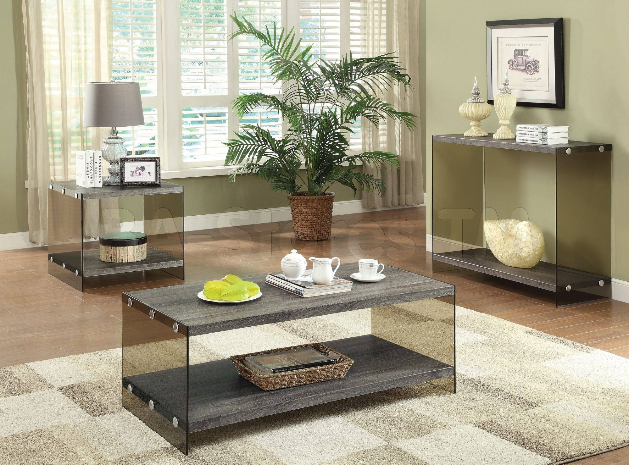 Coffee, Side & End Tables: Weathered Grey Coffee Table With Glass in Grey Coffee Table Sets (Image 13 of 30)
