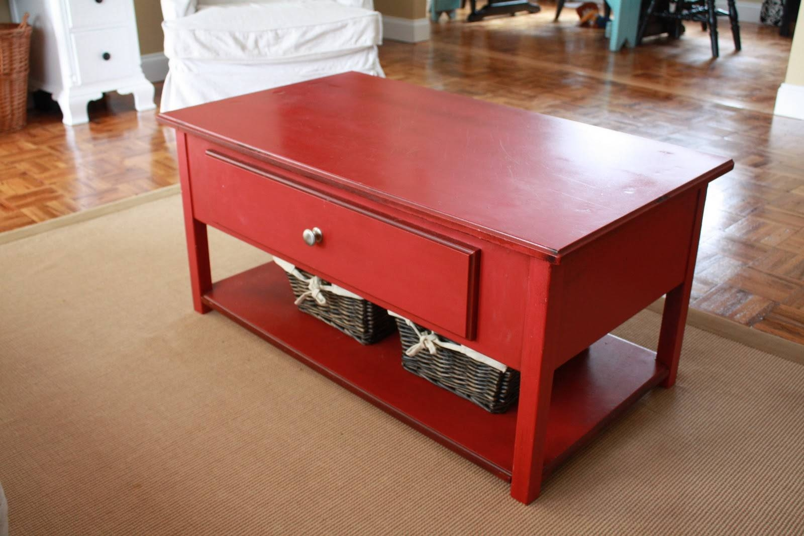 Coffee Table: Appealing Red Coffee Table Living Room Rustic Red for Red Round Coffee Tables (Image 6 of 30)