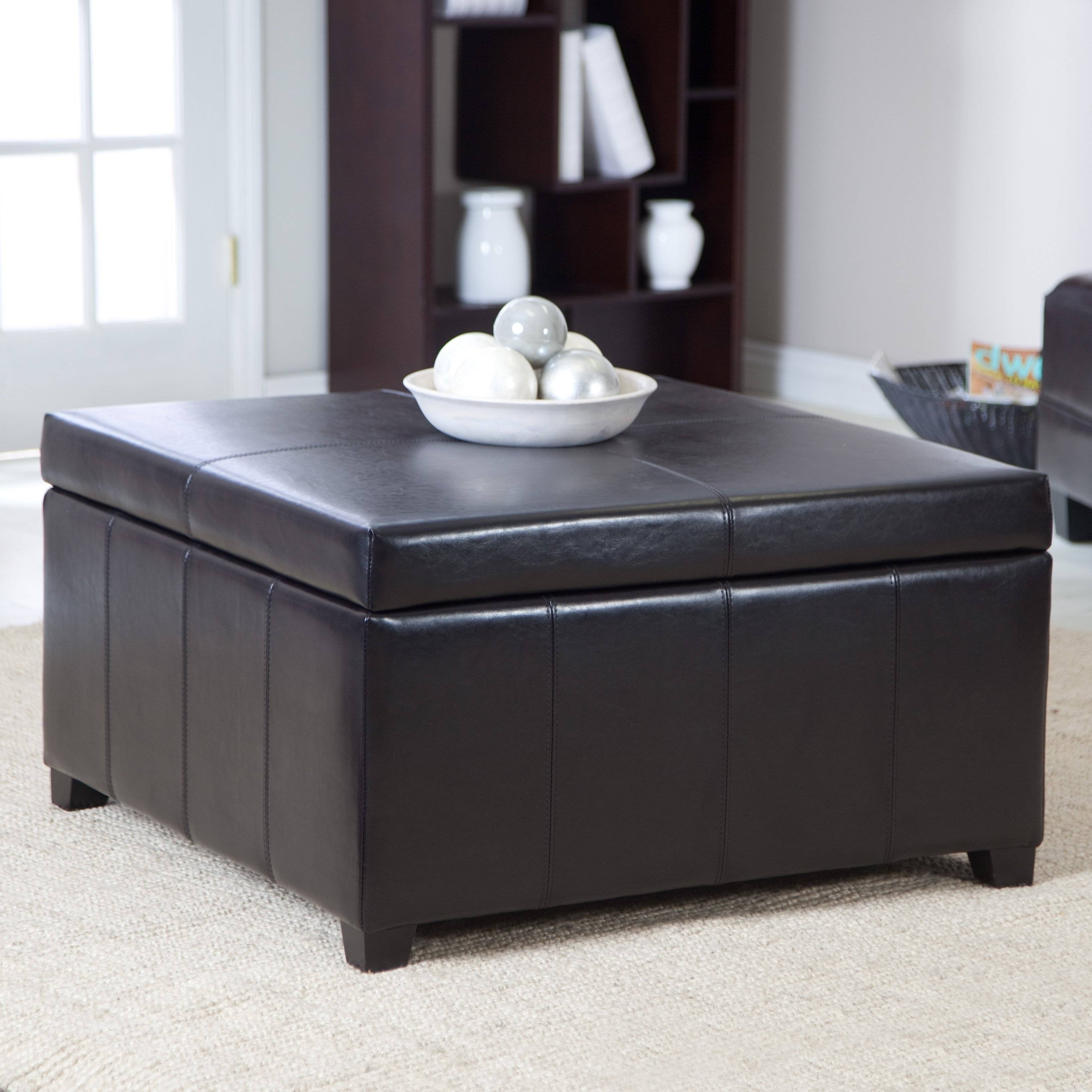 Coffee Table: Appealing Square Storage Ottoman Coffee Table Regarding Brown Leather Ottoman Coffee Tables (View 18 of 30)