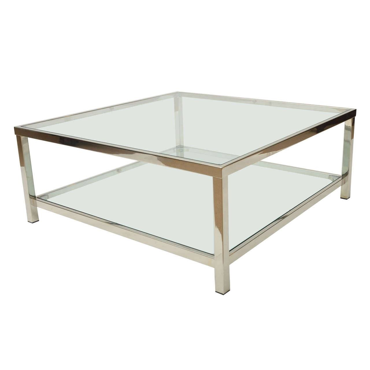 Coffee Table: Astonishing Chrome And Glass Coffee Table Ikea inside Glass Square Coffee Tables (Image 6 of 30)