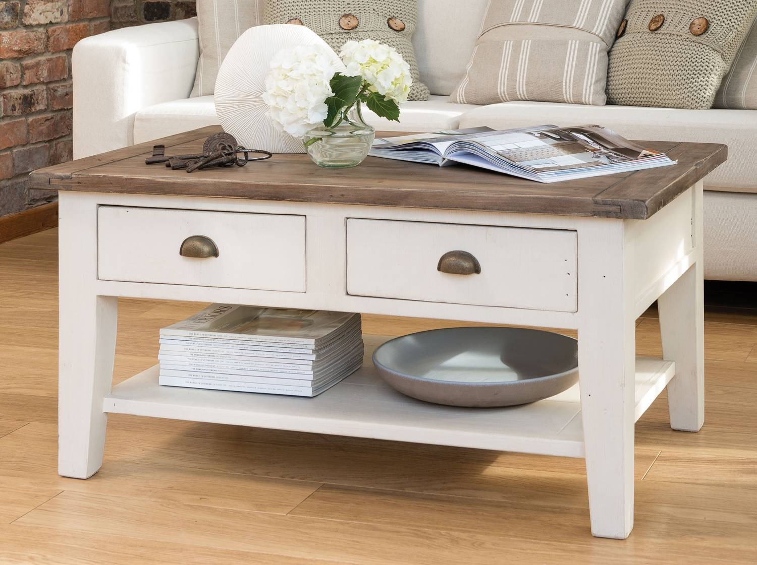 Coffee Table: Astonishing French Country Coffee Table Ideas within White Cottage Style Coffee Tables (Image 6 of 30)