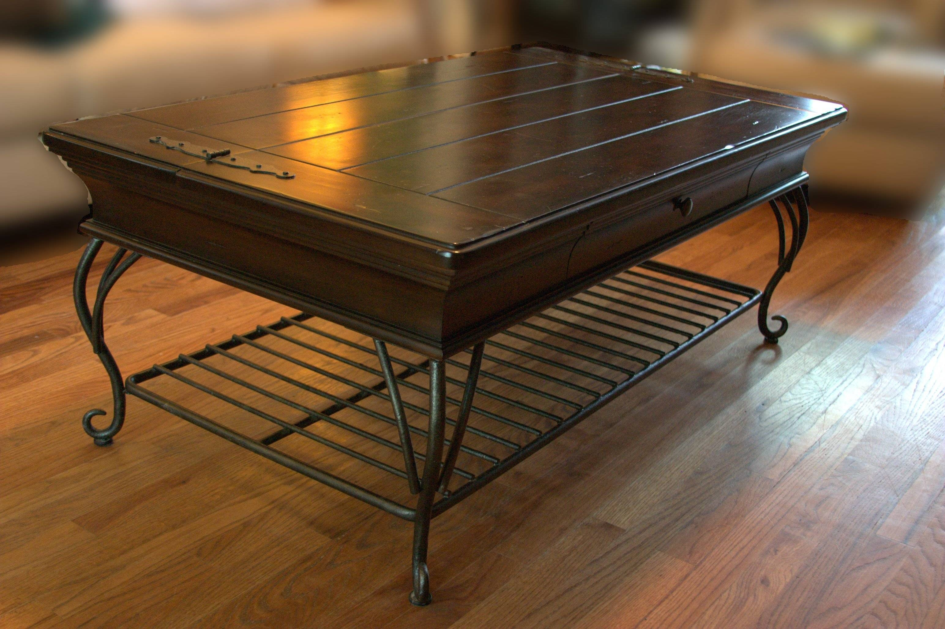 Coffee Table: Astonishing Iron And Wood Coffee Table Design Ideas pertaining to Square Dark Wood Coffee Tables (Image 5 of 30)