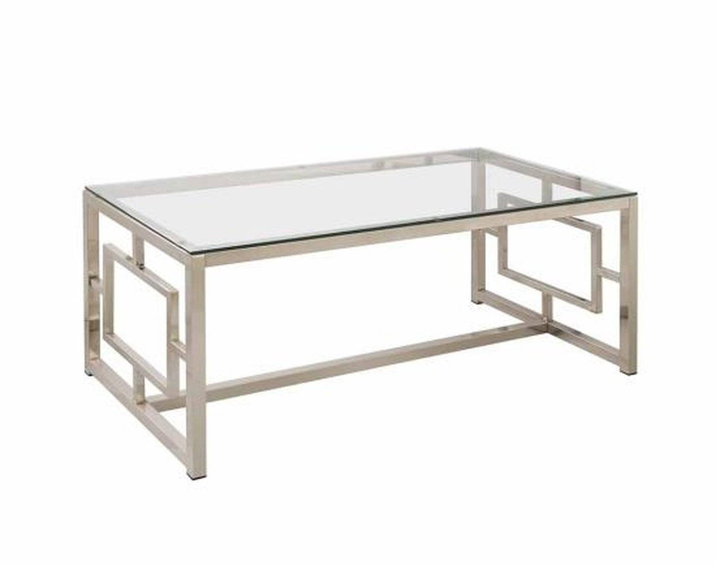 Coffee Table: Astounding Silver And Glass Coffee Table Ideas Within Coffee Tables Glass And Metal (View 5 of 30)