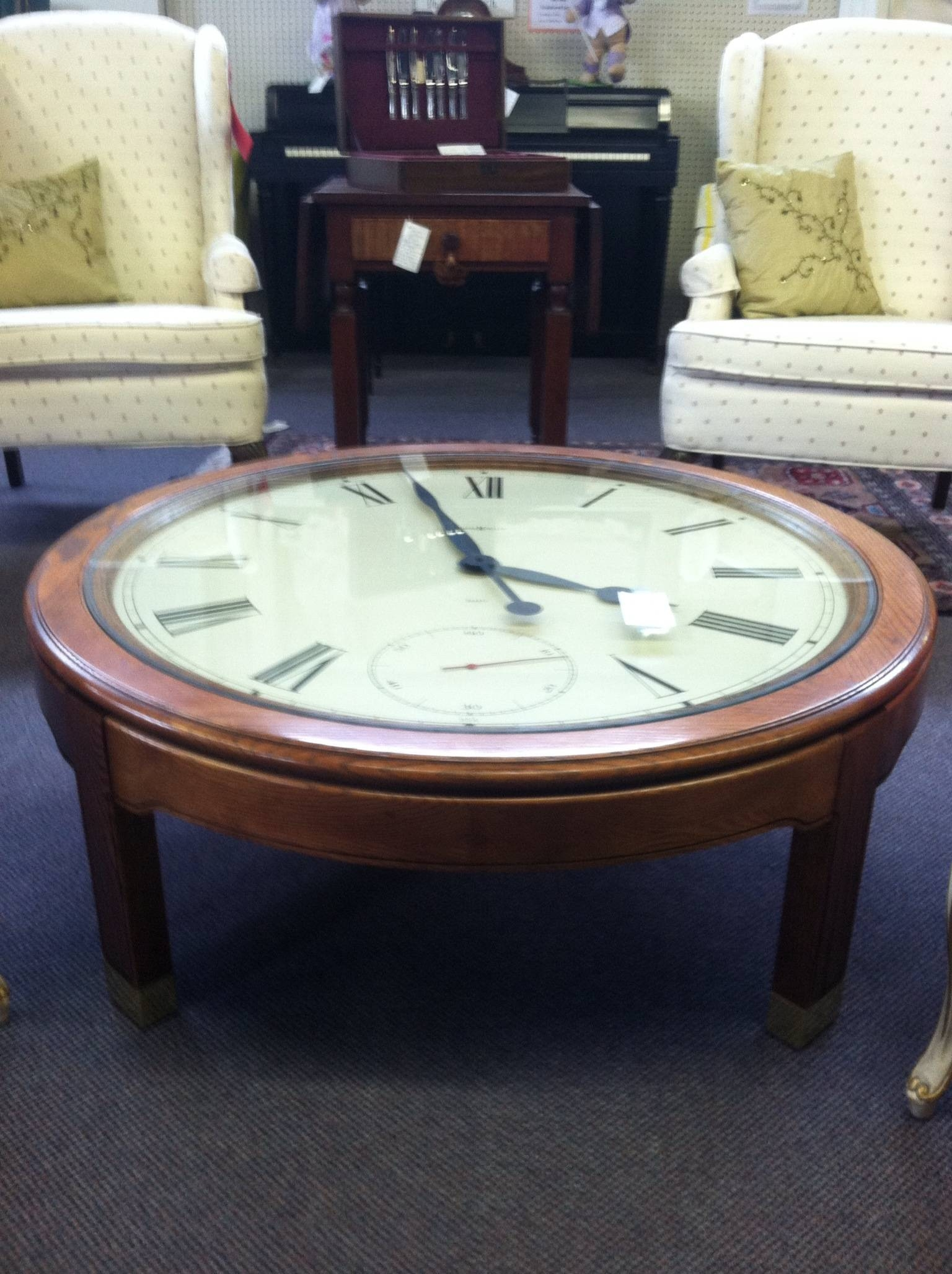 Coffee Table: Awesome Clock Coffee Table Designs Round Clock throughout Coffee Tables With Clock Top (Image 16 of 30)