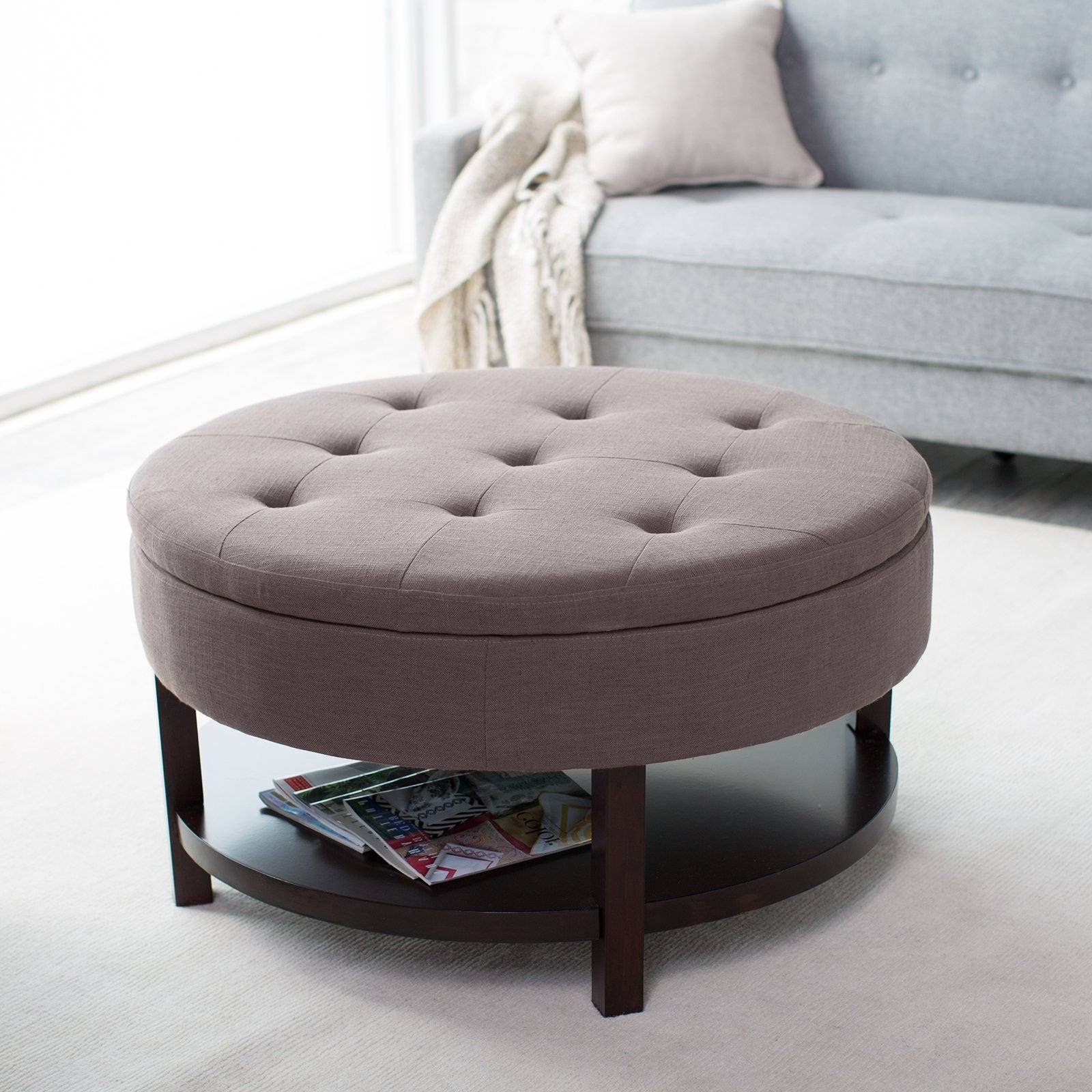 Coffee Table: Awesome Round Ottoman Coffee Table Upholstered Round For Round Upholstered Coffee Tables (View 2 of 30)
