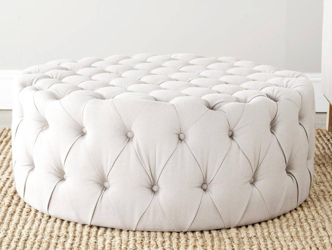 Coffee Table: Awesome Round Ottoman Coffee Table Upholstered Round In Round Upholstered Coffee Tables (View 7 of 30)