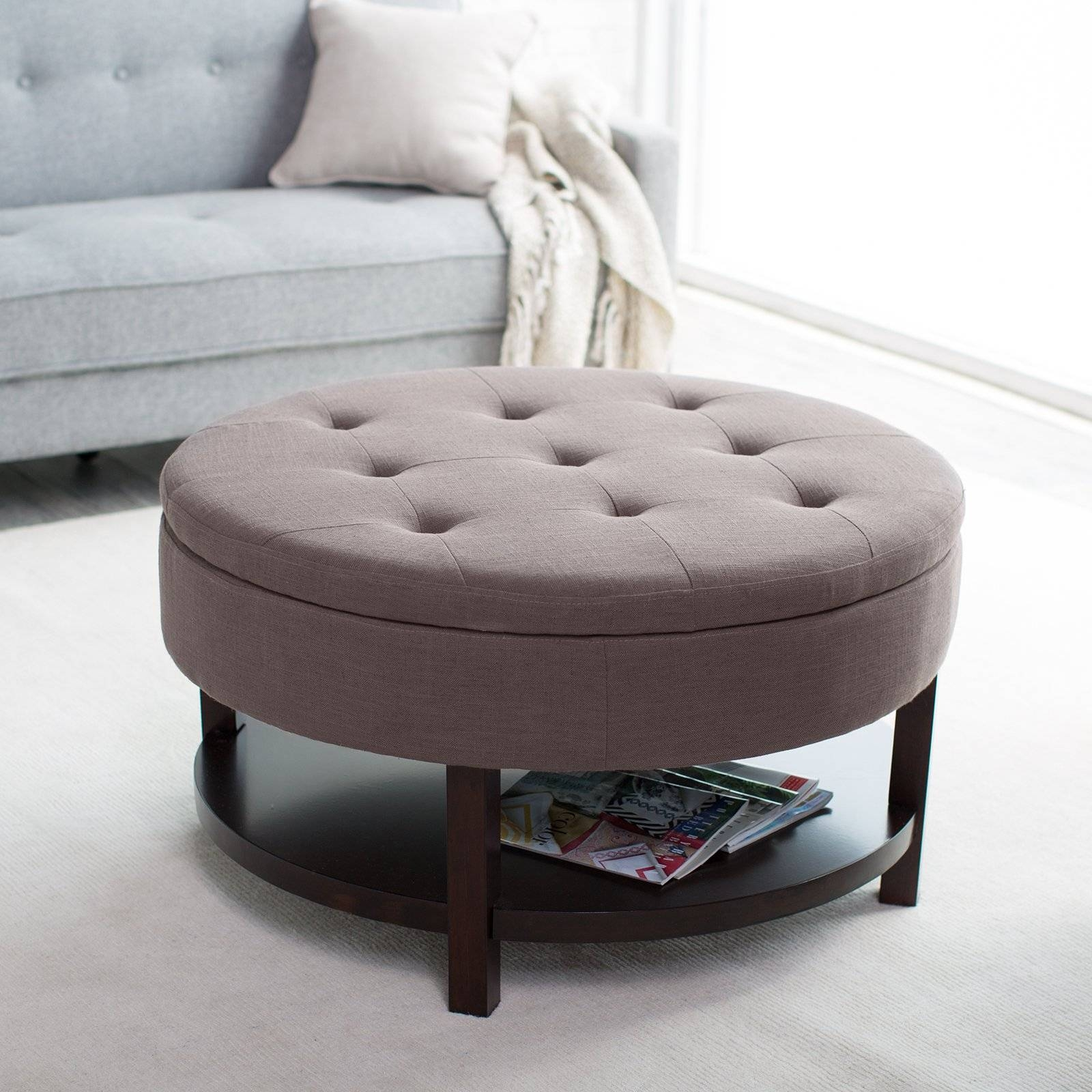 Coffee Table: Awesome Round Ottoman Coffee Table Upholstered Round throughout Brown Leather Ottoman Coffee Tables With Storages (Image 15 of 30)