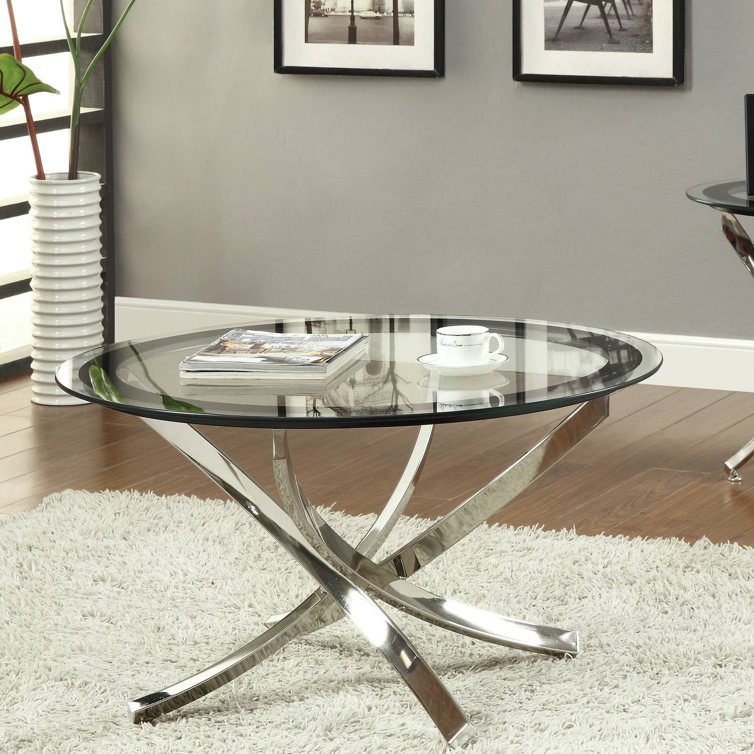 Coffee Table: Beautiful Glass Round Coffee Table Designs Small In Glass And Silver Coffee Tables (View 8 of 30)